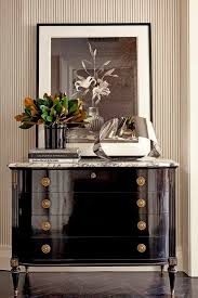 black lacquer furniture paint. shiny black lacquer chest of drawers with marble top pin stripped wall covering a framed u0026 white photo vase magnolia leaves furniture paint o