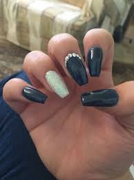 Navy Blue Nail Designs For Prom Navy Blue Acrylic Nails For A Wedding Navy Silver Nails