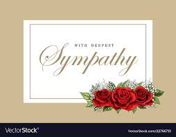 Condolences Sympathy Card Floral Red Roses Bouquet