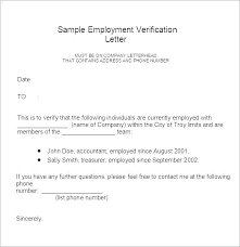 Letter Verification Of Employment Employment Verification Letter Templates Free Sample Example Job