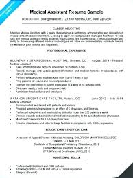 Medical Assistant Resume Objective Examples Paknts Com