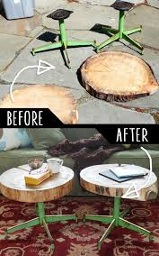 Image Pinterest Diy Furniture Hacks Accent Tables Using Rough Cut Logs And Old Metal Chair Legs Diy Joy 39 Clever Diy Furniture Hacks