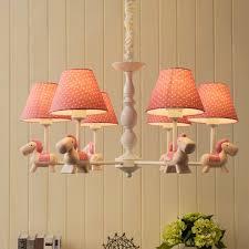 ete lovely resin cartoon horse kids room 3 light 5 light 6 light chandelier with fabric bell shade