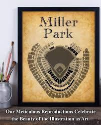Miller Park Stadium Baseball Seating Chart 11x14 Unframed Art Print Great Sports Bar Decor And Gift Under 15 For Baseball Fans