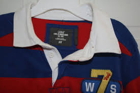 h m rugby shirt age 6 8 red white blue vgc