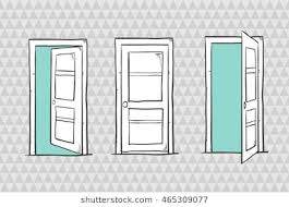set of sketch doors closed and open vector ilration