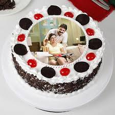 Tasty Black Forest Photo Cream Cake For Fathers Day 1kg Gift Black