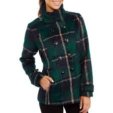 women s essential faux wool peacoat with stand collar com