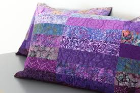 Quilted Pillow Shams Set of Two Purple Modern Patchwork & Like this item? Adamdwight.com