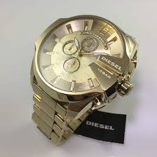 men s gold tone diesel mega chief chronograph watch dz4360
