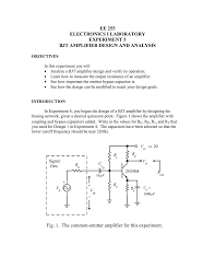 Ce Amplifier Design Values Ee 255 Electronics I Laboratory Experiment 5 Bjt Amplifier