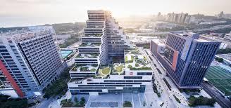 office block design. Cascading Shenzhen Office Building Luxuriates Under A Stepped Green Roof Block Design K