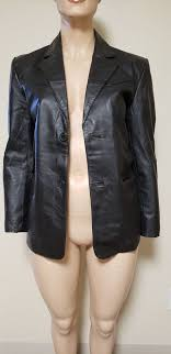 mens black leather jacket size small barely used