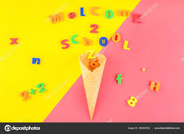 Welcome Back To School Letter Templates Creative Flat Lay Back School Concept Waffle Cone Welcome Letters