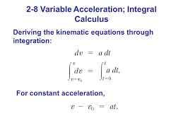 deriving the kinematic equations through integration for constant acceleration 2 8 variable acceleration integral calculus