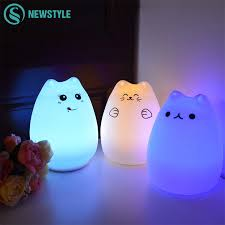 Cat 2 Led Lighting Us 6 69 29 Off Silicone Touch Sensor Led Night Light For Children Baby Kids 7 Colors 2 Modes Cat Led Usb Led Night Lamp In Led Night Lights From
