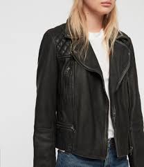 women s cargo leather biker jacket black grey image 4