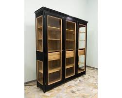 three doors black bookcase hand made