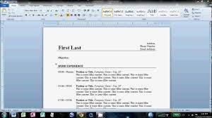 How To Do A Resume On Microsoft Word 2010 How To Write A Basic Resume In Microsoft Word YouTube 4