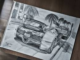 At the top part of the car sketch out the lines of the windows and mirrors and in the lower part. Bugatti Veyron Drawing Collections Cortez Auto