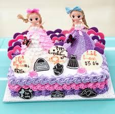 Bánh sinh nhật tạo hình công chúa chibi màu tím và màu hồng dễ thương tặng  bé gái