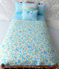 Blue floral doll bedding set <b>6</b> pcs Polka dot Barbie Monster high ...