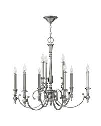 elstead lighting hinkley yorktown 9 light chandelier in antique nickel finish with both antique nickel and off white candle sleeves