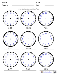 Draw the Hands on the Clock Worksheets - you can create worksheet ...