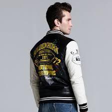 kenntrice baseball leather jacket men black white college