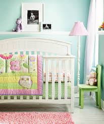 6 piece baby girl bedding set flowers owl nursery quilt per sheet crib skirt