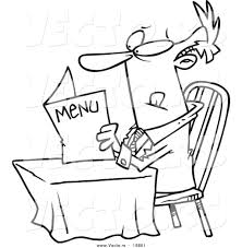 Small Picture Vector of a Cartoon Businessman Reading a Diner Menu Outlined