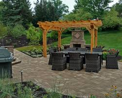 Techo-bloc patio, Pergola and Outdoor Fireplace