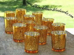 gold mercury glass votive holders wedding glass candle holders