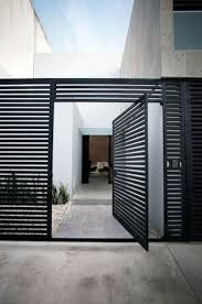 Modern metal fence design Contemporary Pool Home Modern Fence Ideas With Metal Gate Next Luxury Top 60 Best Modern Fence Ideas Contemporary Outdoor Designs