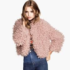 new fashion women jacket faux fur gy collarless on long sleeve short coat outerwear pink