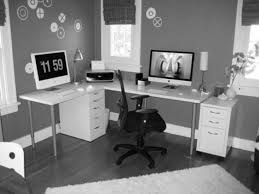 office at home. Gallery Of Home Office Decorating Ideas Design Small Space Offices At Desks With Trendy Decor.