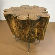 tree stump side table green clean