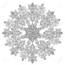 circle ornament of snowflakes in shape of mandala for coloring book or for zen anti