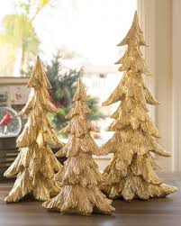 Golden Christmas Tabletop Trees, Set of 3 Main