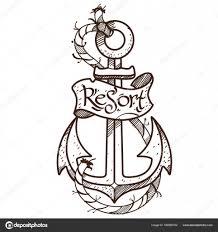 эскиз татуировки якорь логотип векторное изображение Filkusto
