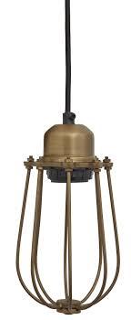 industville orlando cylinder wire cage retro pendant light in brass