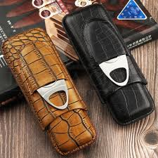 galiner crocodile pattern leather cigar case travel leather humidor box w stainless cigar cutter fit 2 cohiba cigars