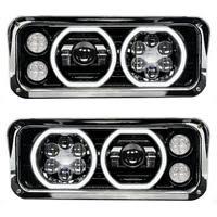 kenworth w900 headlights raney s truck parts kenworth w900 led projector headlight assembly black finish