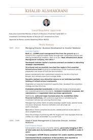 Managing Director, Business Development & Investor Relations Resume samples