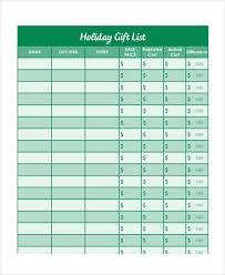 Printable Christmas Gift List Template Holiday Gift List Templates 9 Free Word Pdf Format