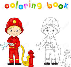 vector ilration fireman in a red uniform and helmet with a hose in his hand coloring book