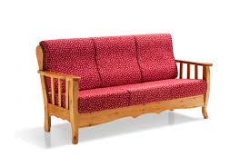 Divano 3 posti in legno massiccio con cuscini sfoderabili ed