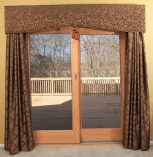 superlative sliding glass door valance furniture sliding glass patio door with brown patterned curtains