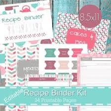 printable recipe binder kit personalized family recipe binder recipe pages recipe organizer diy recipe binder printable recipe template