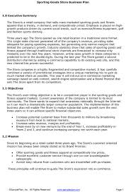 executive summery sporting goods store business plan executive summary